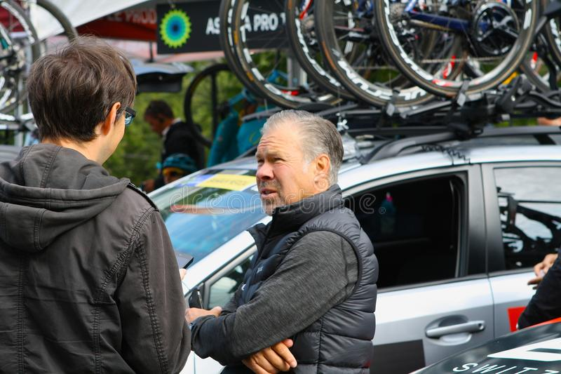 Jim Ochowicz owner of BMC racing team at Montreal Grand Prix Cycliste on September 9 2017 stock photography