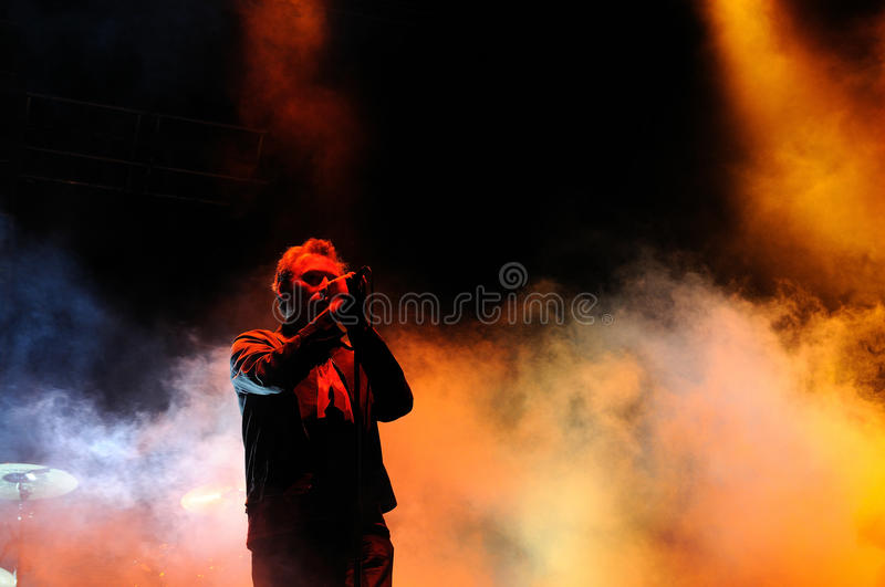 Jim Reid, singer of The Jesus and Mary Chain, performs at Heineken Primavera Sound 2013 Festival royalty free stock photo