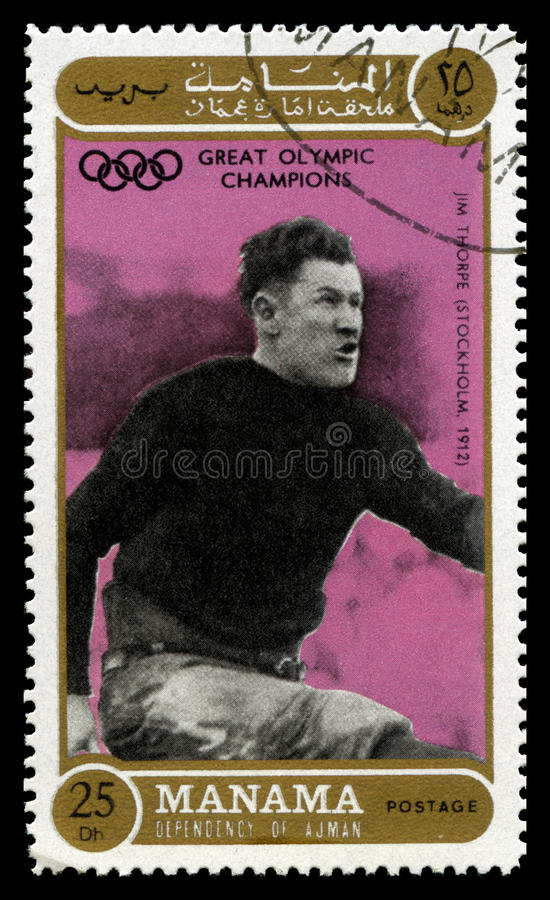 Jim Thorpe Olympic Champion γραμματόσημο στοκ εικόνες