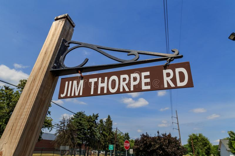 Jim Thorpe Rd Sign in Carlisle royalty-vrije stock afbeelding