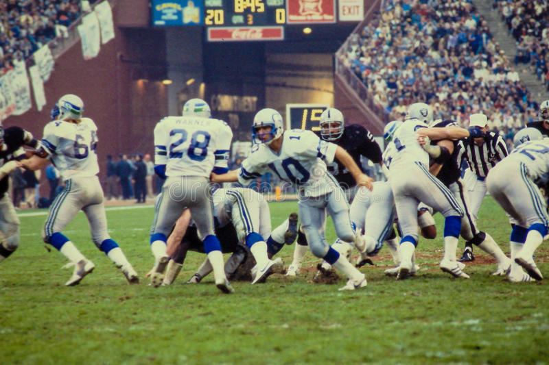 Jim Zorn and Curt Warner Seattle Seahawks stock images