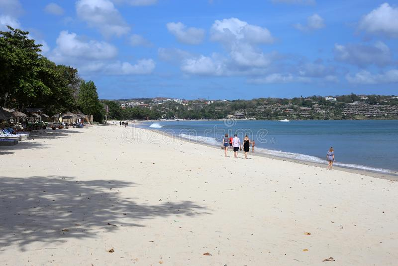 Jimbaran海滩,巴厘岛,可爱风景的照片的印度尼西亚-,田园诗假日天堂海滩 免版税图库摄影
