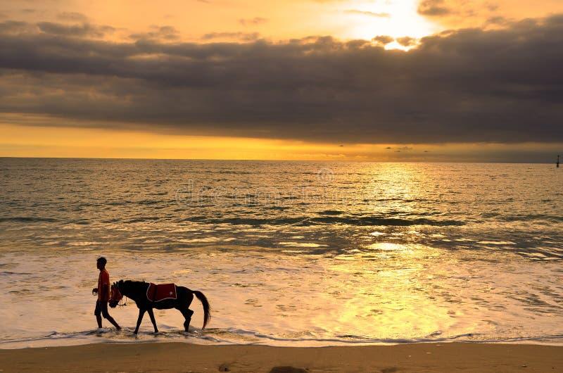 Jimbaran海滩,巴厘岛,印度尼西亚 免版税图库摄影