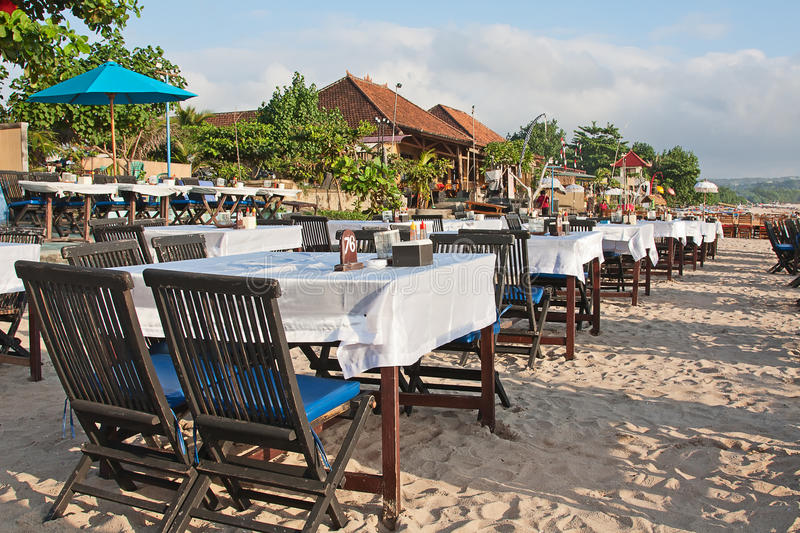 Jimbaran. Balinese Jimbaran beach famous for it's perfect sea food restaurants stock photos