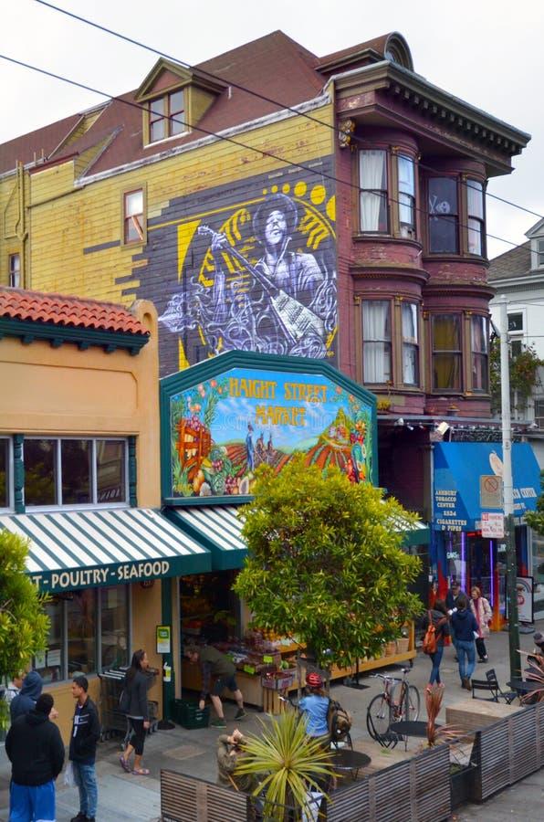 Jimi Hendrix mural in Haight-Ashbury San Francisco royalty free stock photos