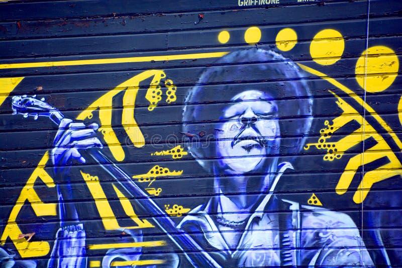 Jimi Hendrix mural royalty free stock images