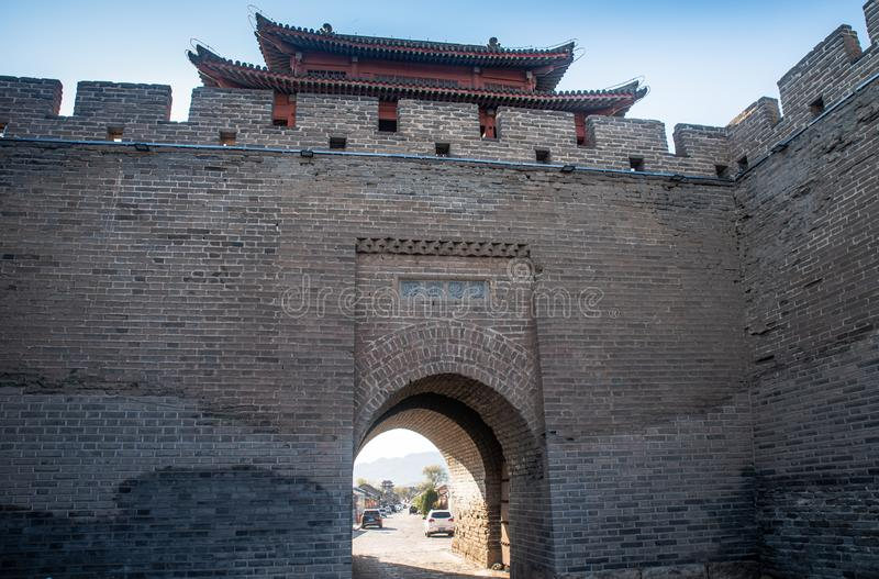Gate of Jiming courier station. Jiming Post is an ancient post built in Ming Dynasty , HeBei province , China royalty free stock image