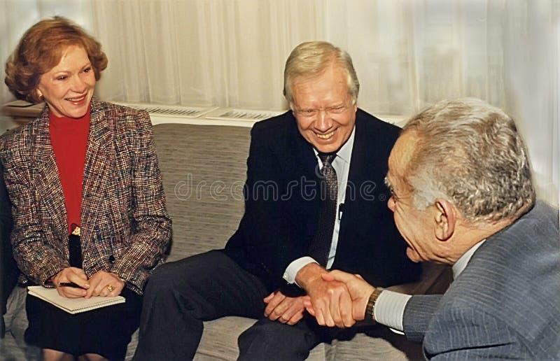 Jimmy Carter et Rosalynn Carter Meet Yitzhak Shamir photographie stock libre de droits