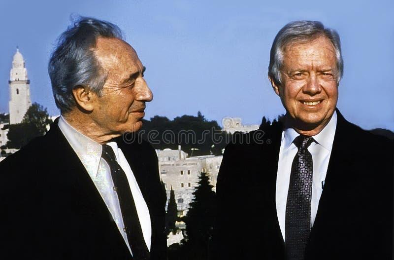 Jimmy Carter et Shimon Peres images libres de droits