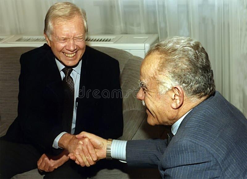 Jimmy Carter Meets Yitzhak Shamir royaltyfri bild
