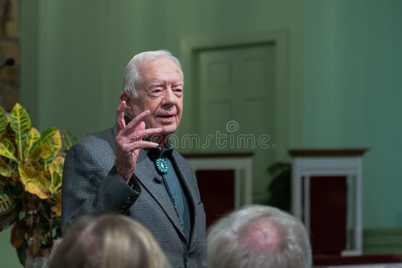 Jimmy Carter. President Jimmy Carter teaching adult Sunday School at the Maranatha Baptist Church in Plains, Georgia royalty free stock photo