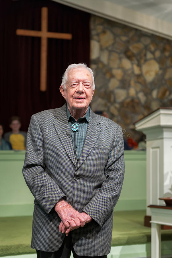 Jimmy Carter. President Jimmy Carter teaching adult Sunday School at the Maranatha Baptist Church in Plains, Georgia on November 13, 2016 stock images