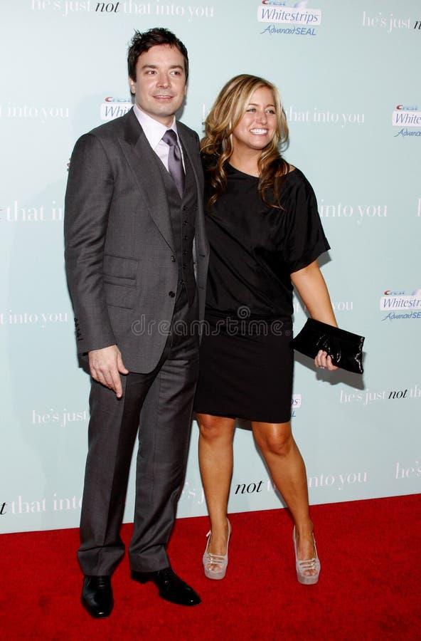 Jimmy Fallon en Nancy Juvonen royalty-vrije stock afbeeldingen