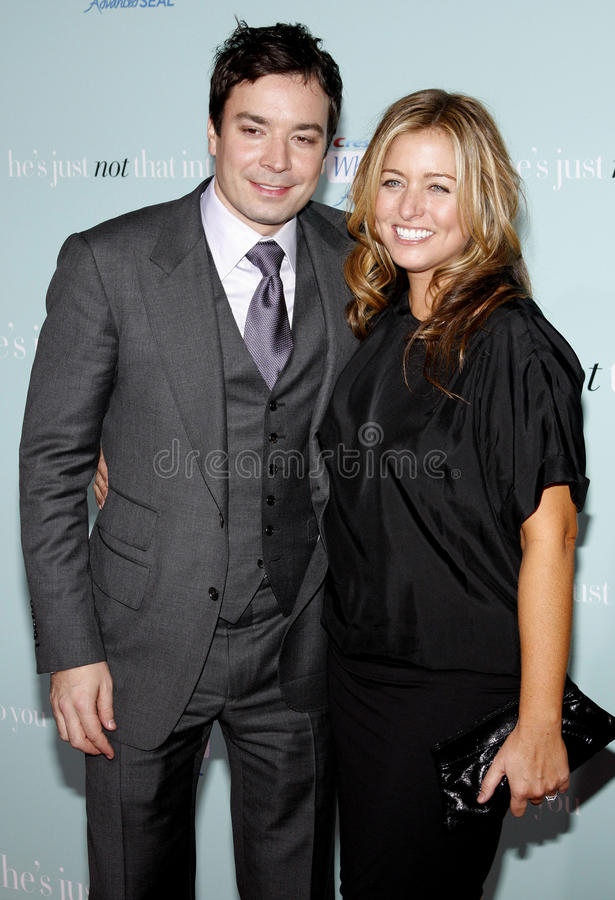 Jimmy Fallon and Nancy Juvonen. At the World Premiere of `He`s Just Not That Into You` held at the Grauman`s Chinese Theater in Hollywood, California, United royalty free stock image