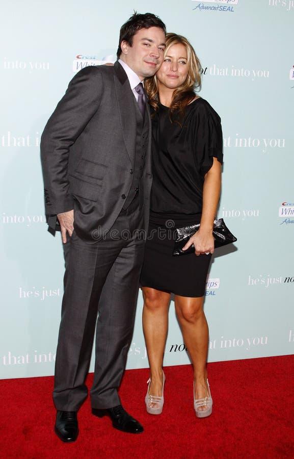 Jimmy Fallon och Nancy Juvonen royaltyfri fotografi