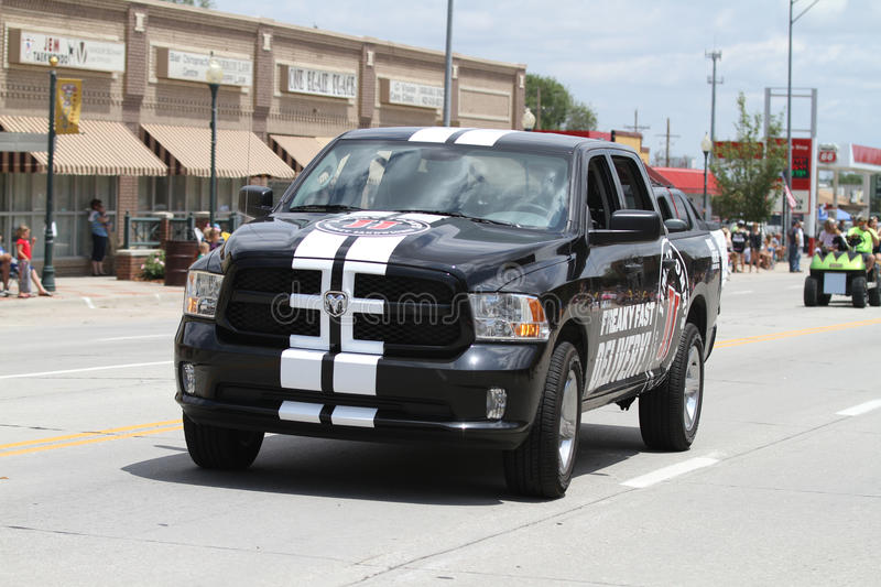 Jimmy Johns Delivery Truck eine Kleinstadtparade in Amerika stockbilder