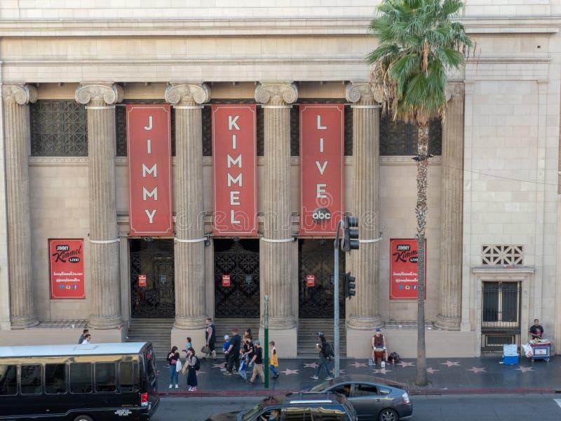 Jimmy Kimmel Live som filmar läge på Hollywood den frimurar- templet arkivbild
