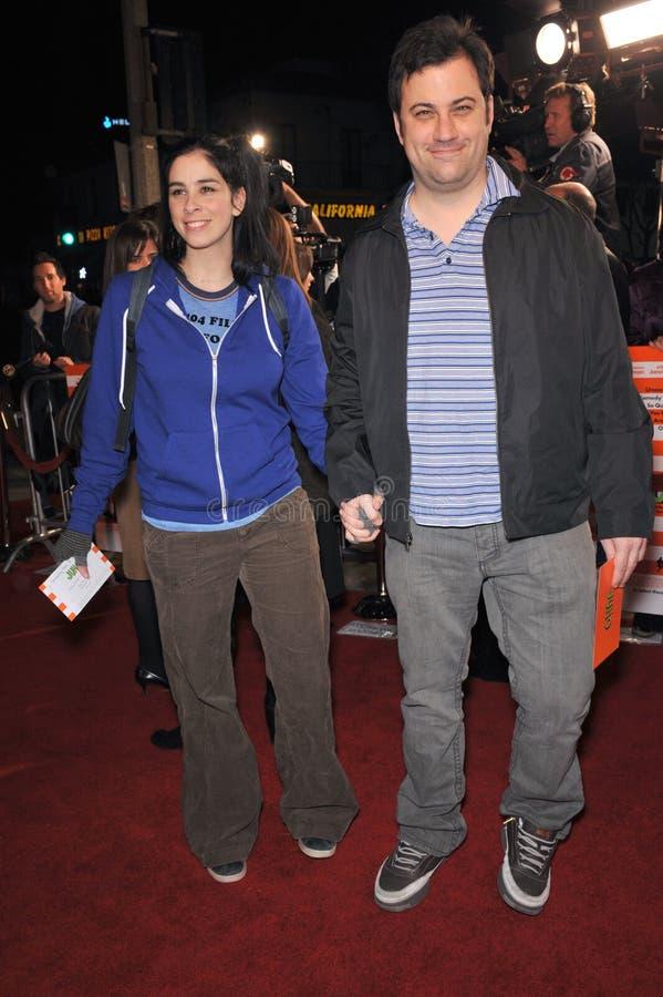 Jimmy Kimmel, Sarah Silverman lizenzfreies stockbild