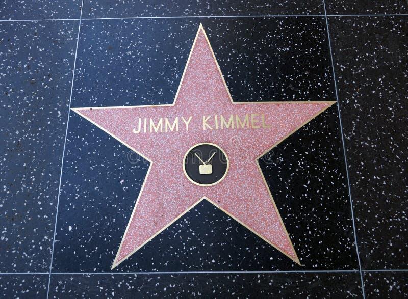 Jimmy Kimmel-ster op Hollywood-Gang van Bekendheid stock afbeelding
