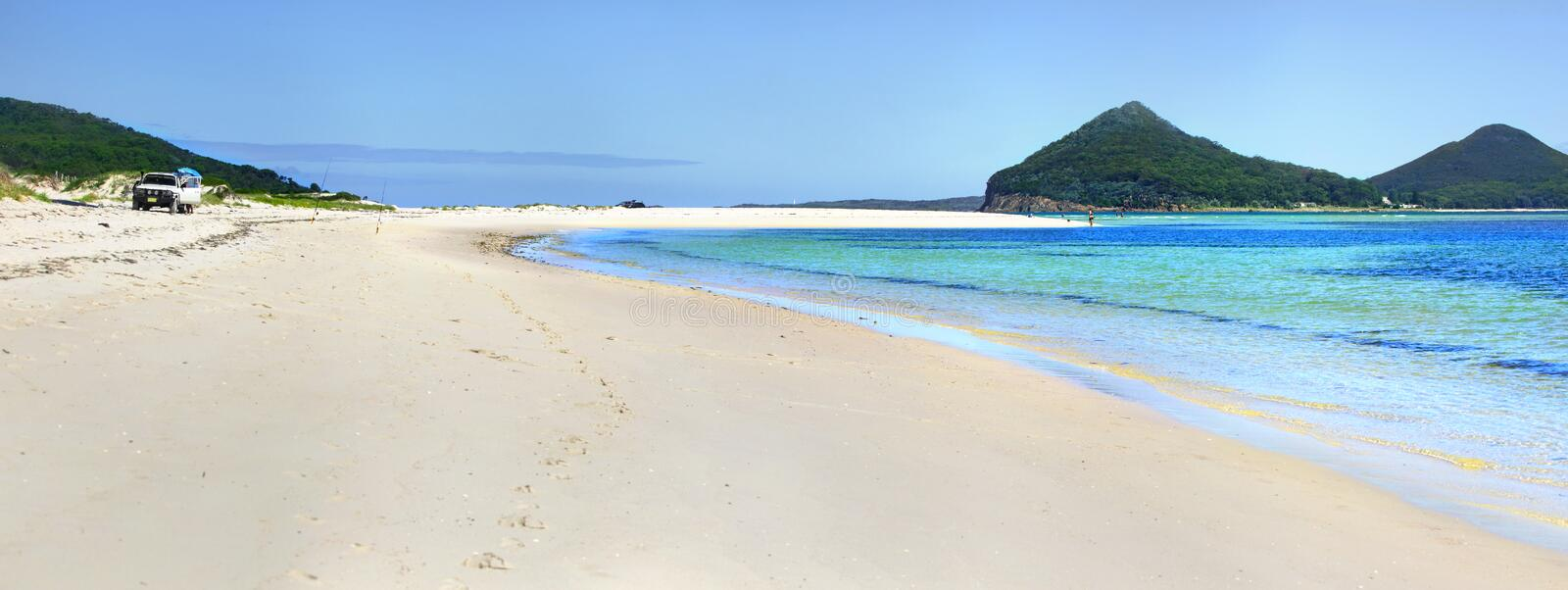 Jimmys Beach Hawks Nest eastern end with Mt Tomaree in view. stock image