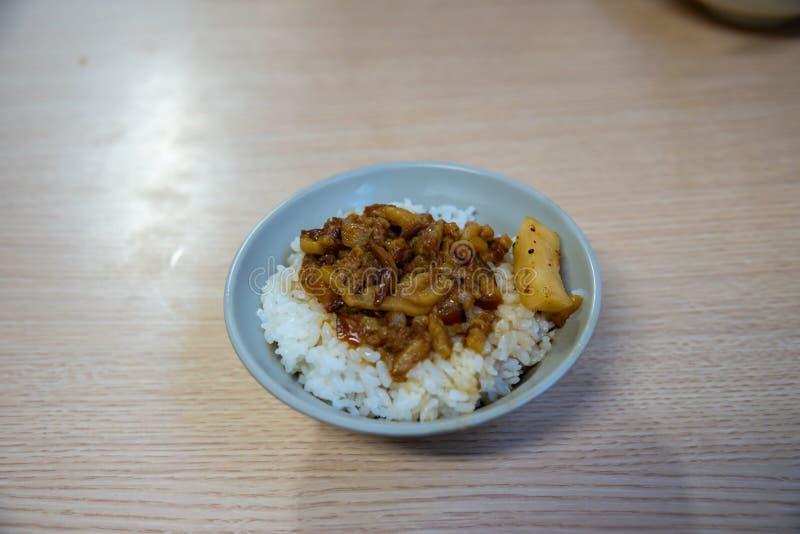 Jin Feng Lu Rou Fan O restaurante assado o mais famoso da bacia de arroz da carne de porco de Taipei imagens de stock
