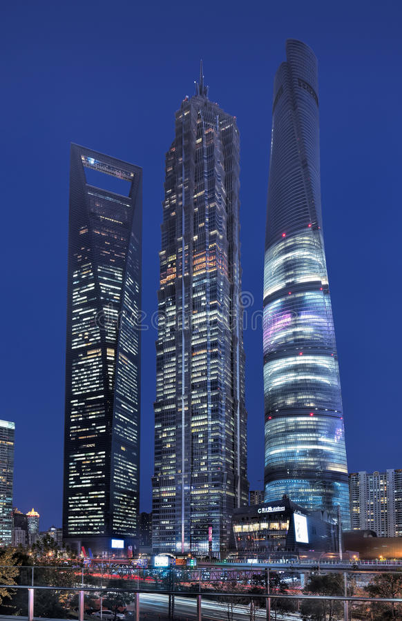 Jin Mao and Shanghai World Financial Centre at night. stock images