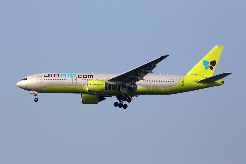 Jin Wietrzy Boeing 777-200 Seul Incheon samolotowego zawody międzynarodowi Airp obraz stock