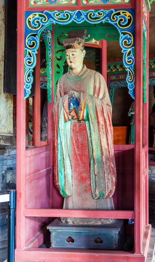 Free Jinci Memorial Temple(museum) Scene. Maidservant Coloured Clay Sculpture At The Saintly Mother Hall Stock Photography - 35957252