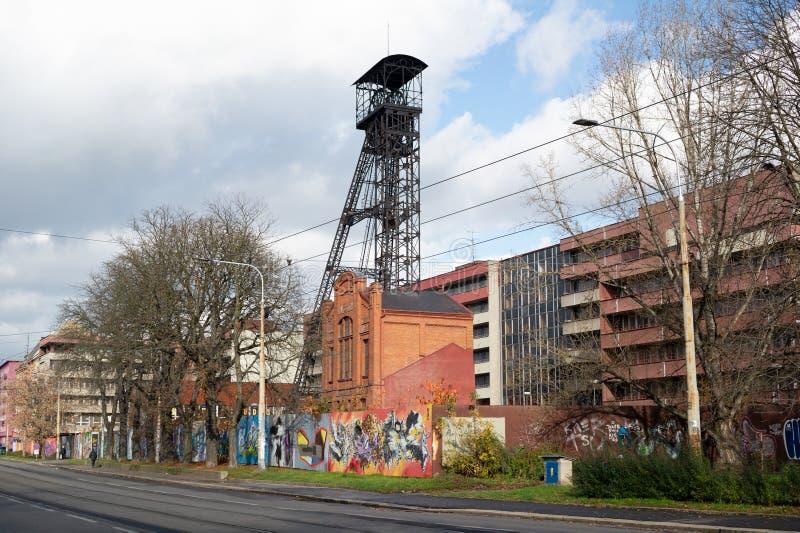 Jindrich mine, Ostrava, Czech Republic / Czechia. Former headframe of the mine. Street in industrial city royalty free stock photography