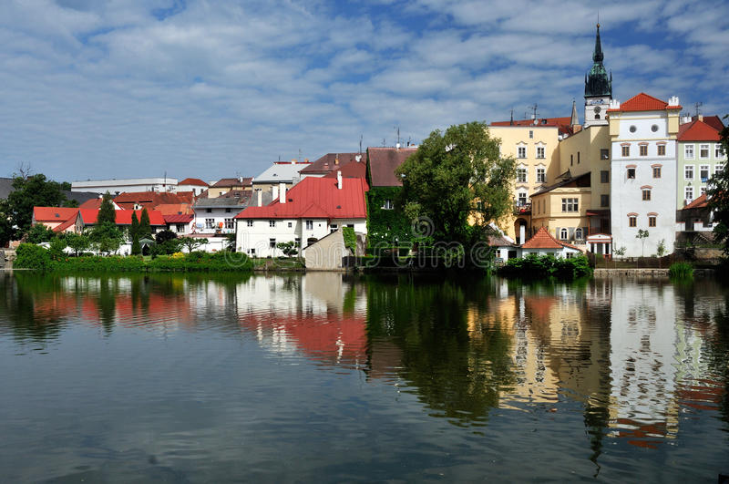 Jindrichuv Hradec. The view on Jindrichuv Hradec city and Vajgar lake in the south of Czech Republic royalty free stock photos