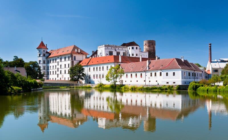 Jindrichuv Hradec Castle. And pond stock image