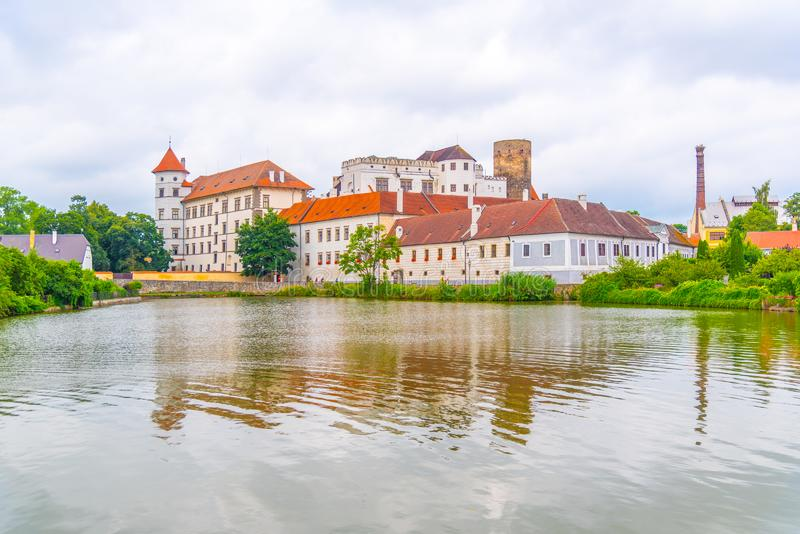 Jindrichuv Hradec Castle reflected in the Little Vajgar pond, Jindrichuv Hradec, Czech Republic.  royalty free stock images