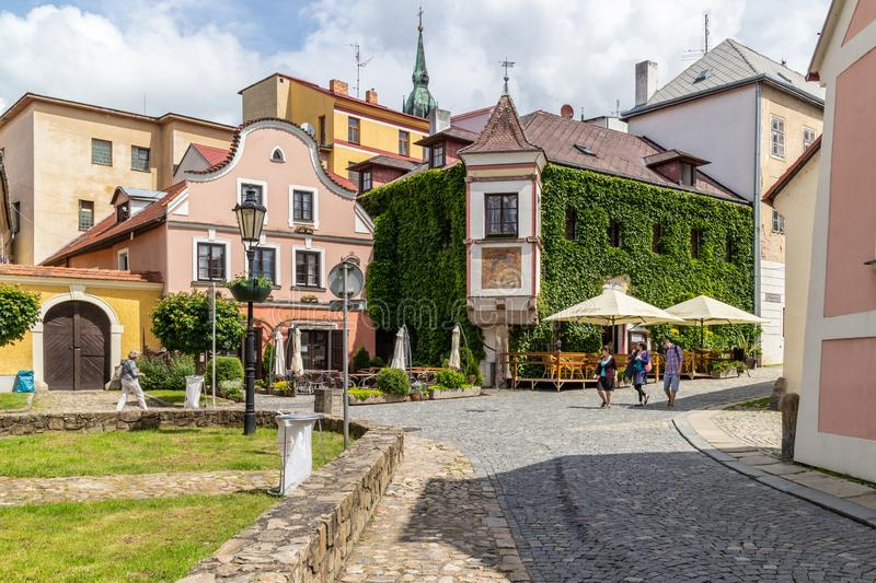 JINDRICHUV HRADEC. CZECH REPUBLIC - JUNE 04, 2016: Square with Restaurant in the city of `` which means Henry`s Castle, South Bohemia, Czech Republic, Europe stock photo
