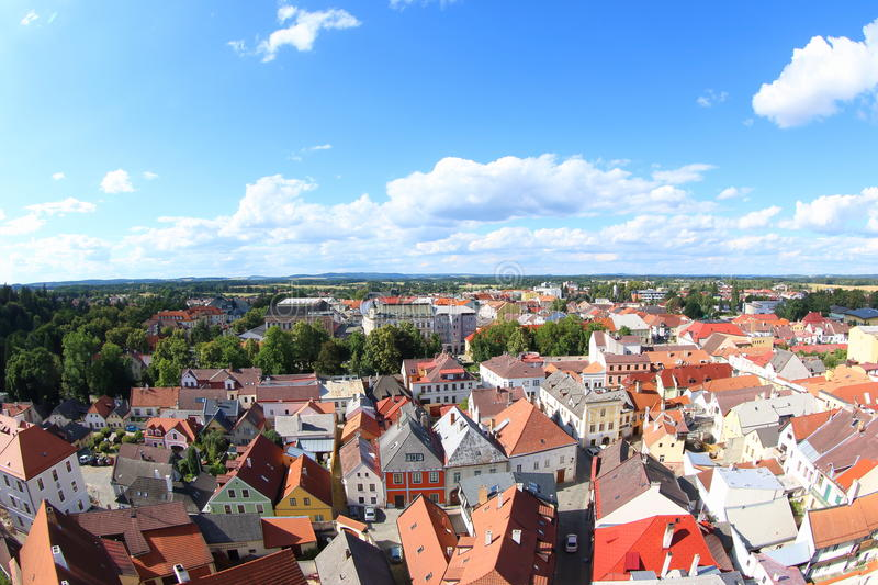 Jindrichuv Hradec. The town Jindrichuv Hradec seen from The Bell tower of the Church of the Assumption of the Blessed Virgin Czech Republic stock photos