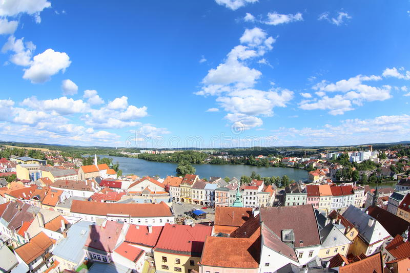Jindrichuv Hradec. The town Jindrichuv Hradec and Vajgar Pond seen from The Bell tower of the Church of the Assumption of the Blessed Virgin Czech Republic royalty free stock photos