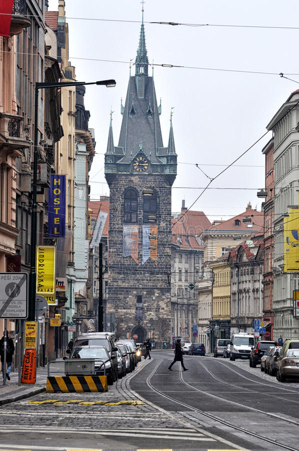 Jindrisska Tower in Prague stock images