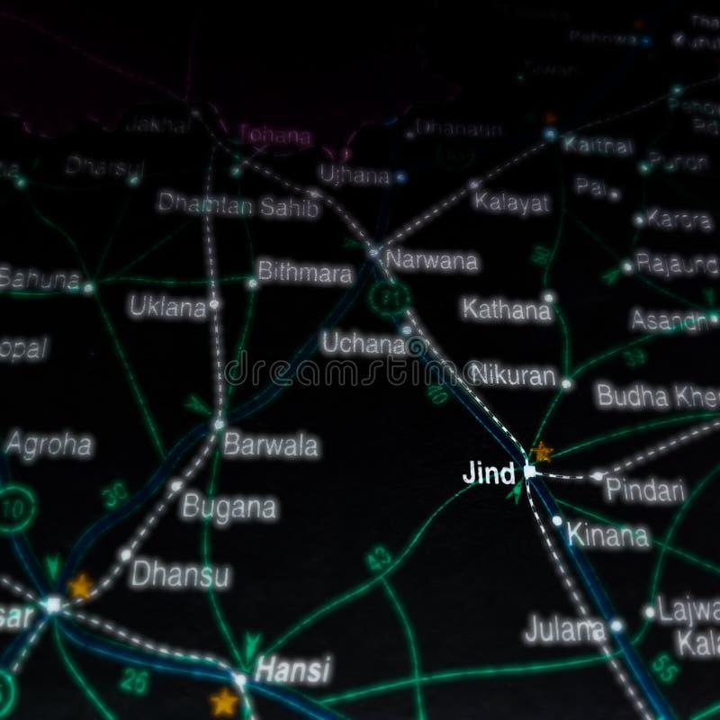 jindstadsnaam weergegeven op geografische kaart in India royalty-vrije stock foto's