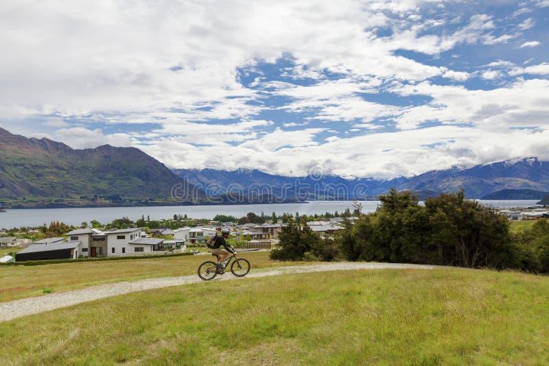 Jinete de la bici de montaña en el lago Wanaka foto de archivo libre de regalías