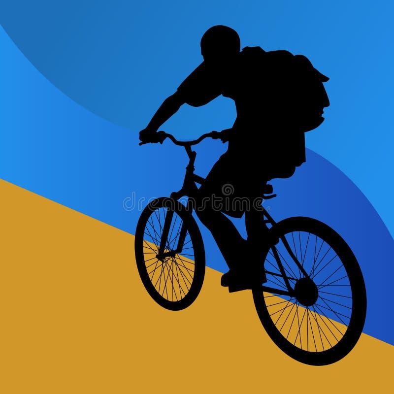 Jinete de la bicicleta del estudiante stock de ilustración
