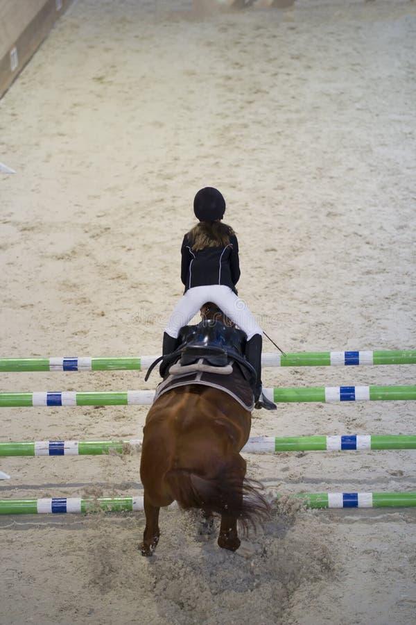 Jinete de la muchacha del niño joven que salta en el caballo sobre obstáculo en la competencia de salto de demostración imagen de archivo