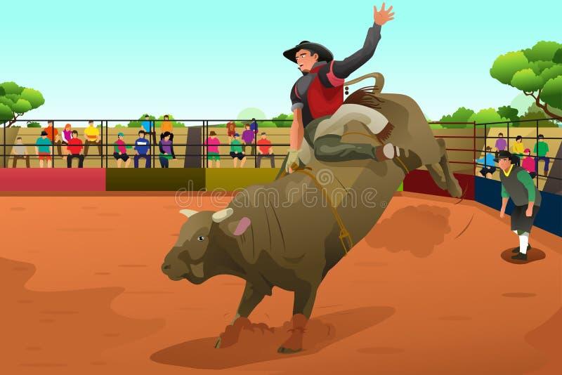 Jinete de rodeo en una arena ilustración del vector