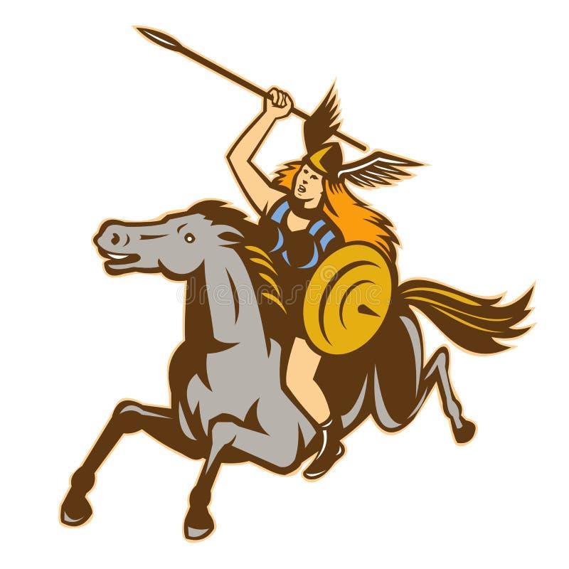 Jinete del caballo del guerrero de Valkyrie el Amazonas stock de ilustración