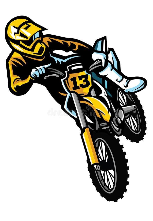 Jinete del motocrós en acto stock de ilustración