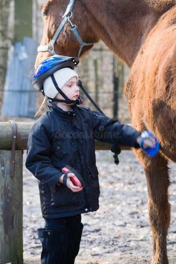 Jinete del muchacho que cuida para su caballo imagen de archivo