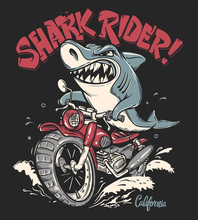 Jinete del tiburón en diseño de la camiseta del vector de la motocicleta stock de ilustración