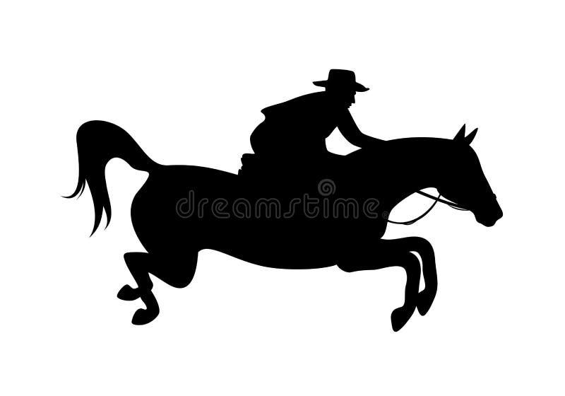 Jinete del vaquero y silueta de salto del vector del caballo stock de ilustración