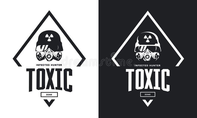 Jinete en casco y logotipo aislado blanco y negro del vector de la careta antigás stock de ilustración