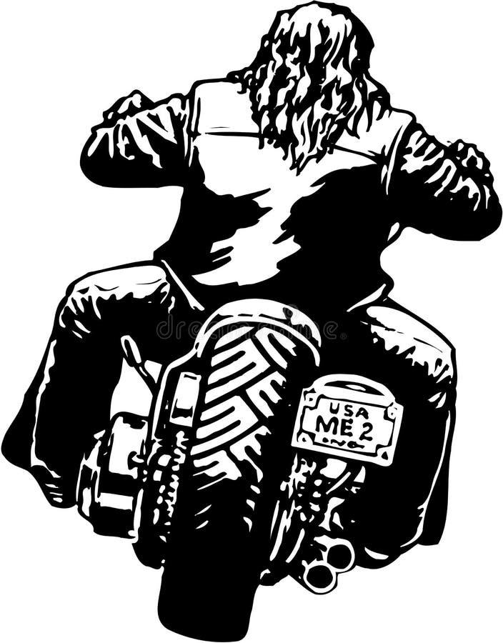 Jinete en el ejemplo del vector de la motocicleta stock de ilustración