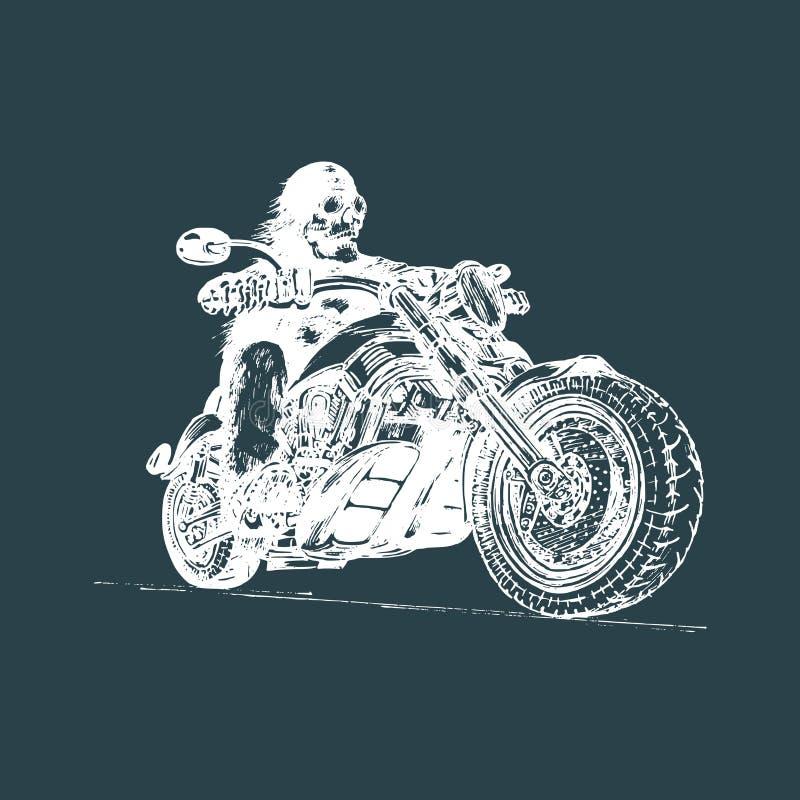 Jinete esquelético dibujado mano del vector en la motocicleta Ejemplo eterno del motorista del vintage para el garaje de encargo  stock de ilustración