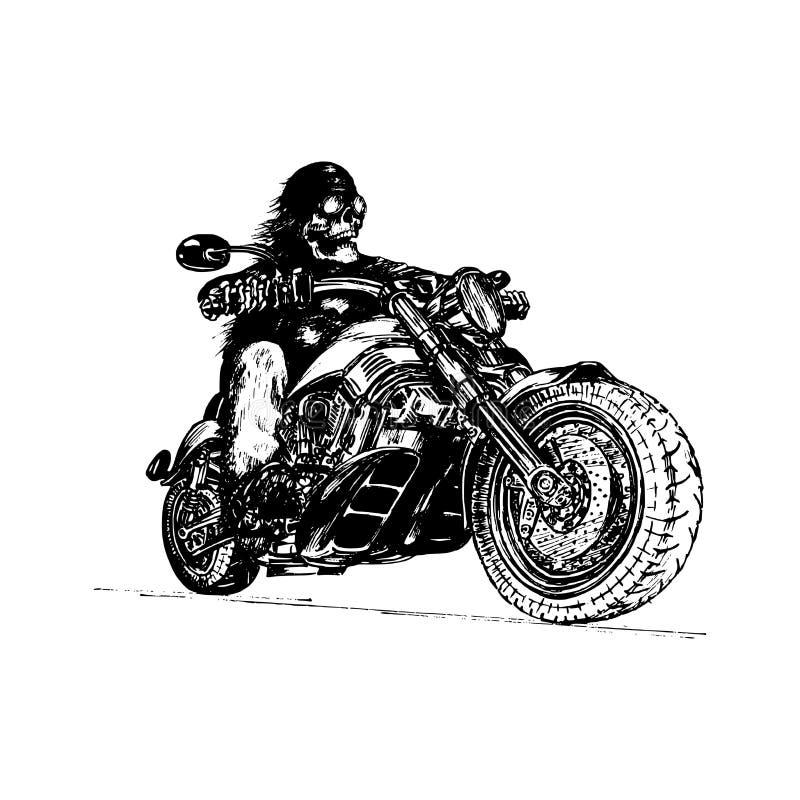 Jinete esquelético dibujado mano del vector en la motocicleta Ejemplo eterno del motorista del vintage para el garaje de encargo  ilustración del vector